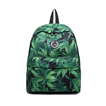 Fashion Stylish Blue Leaf Flower Print Canvas Backpack Daypack