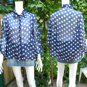 Vintage Semi Sheer Size M Blouse, Blue and White Polka Dot Long Sleeve Shirt