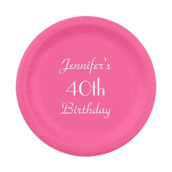 Hot Pink Paper Plates, 40th Birthday Party Paper Plate