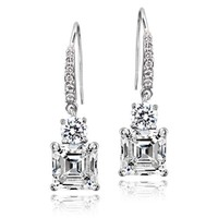 Sterling Silver 5ct Asscher-Cut Cubic Zirconia Dangle  Earrings