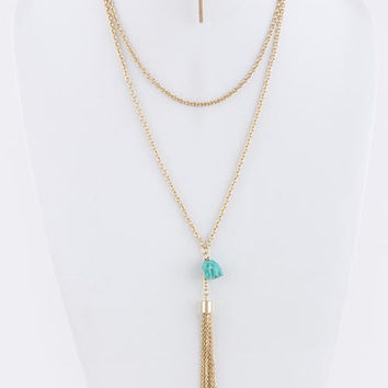 Acrylic Elephant Ornate With Tassel Drop Necklace
