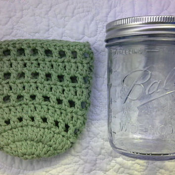 Wide Mouth Mason Jar Cozy - Pint Sized Jar Cover - Crochet Bottle Cozy - Luminary Cover Cotton, Choose Color, Food Gift Idea - MADE TO ORDER