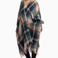 Navy-Pink-Plaid-Knit-Shawl