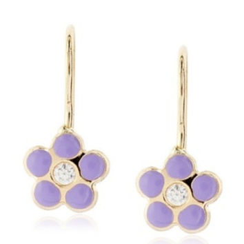 14 KT Wire back flower cz. accent Baby earrings (Purple)