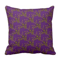 Floral Spray, Purple-Gold-SQUARE THROW PILLOW