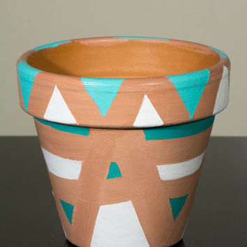 "Hand Painted Flower Pot- 6 Inch Terracotta Pot ""Egyptian Pot"", Birthday, Housewarming, Wedding, Christening Gift- Made to Order"