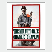 Charlie Chaplin The Kid Auto Race Vintage Film Poster Print