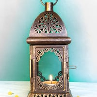 Unique Vintage Scheherazade Exotic Lantern/ Morrocan Decor/ Filigree Metal Candle Holder/ BONUS Candle Snuffer