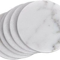 White Marble Coaster a set of 4 stone Coasters for your bar and home drinks