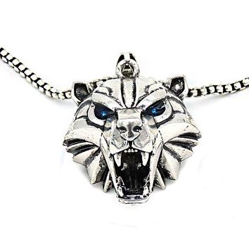 Handmade witcher Bear head medallion monster hunter cosplay medallion grizzly witcher school polar bear pendant necklace NK0245