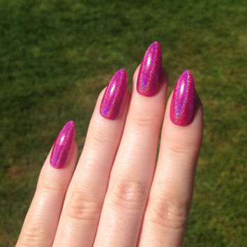 Holographic hot pink stiletto nails, Nail designs, Nail art, Nails, Stiletto nails, Acrylic nails, Pointy nails, Fake nails, False nails