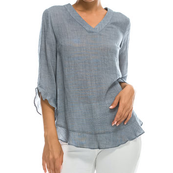 Open Gates Denim Chambray Sheer Ruffle-Accent V-Neck Top