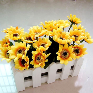 Yellow Artificial Sunflower with White Fence Pot