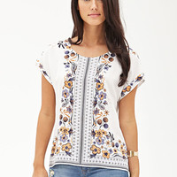 LOVE 21 Paisley Floral Batwing Tee Cream/Purple