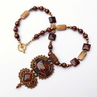 Red Tiger Eye Bead Embroidered Necklace - Beaded Red Tiger Eye, Picture Jasper, Birds Eye Rhyolite Bronze Gold Wood Statement Necklace