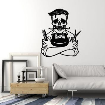 Vinyl Wall Decal Barber Barbershop Hair Stylist Hairdresser Skeleton Stickers Mural (ig5550)