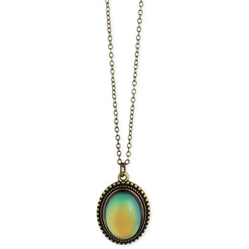 Burnished Gold Oval Mood Pendant Necklace