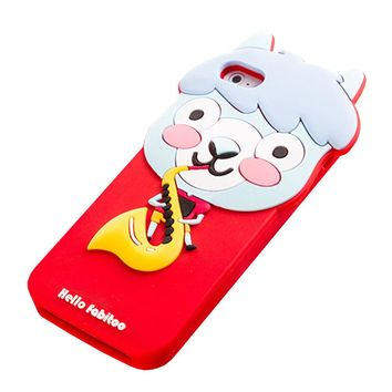 Apple Iphone 5 & 5s Silicone Skin Case Cover Protector (alpaca's Saxophone Red)