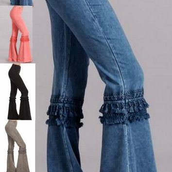 Chatoyant Mineral Wash Bell Bottom Soft Pants with Knee Tassel