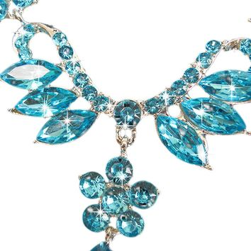 Prom Wedding Bridal Jewelry Crystal Rhinestone Necklace Earring Sets BU