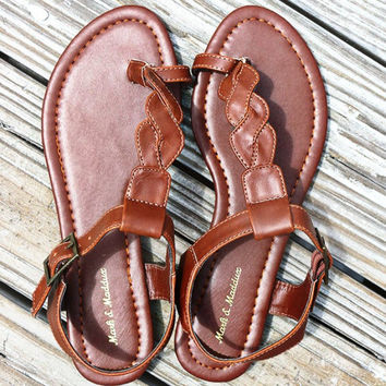 The Atlantic Cognac Braided Thong Toe Strap Flat Sandals