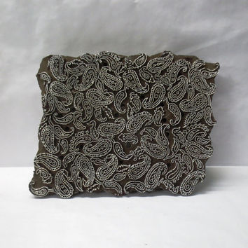 Indian wooden hand carved textile printing on fabric block / stamp unique paisley design vintage pattern LARGE sized HUGE
