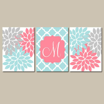 Coral Aqua Gray Nursery Wall Art, CANVAS or Prints, Monogram Baby Girl Artwork, Flower Burst, Girl Bedroom Pictures, Set of 3 Crib Decor