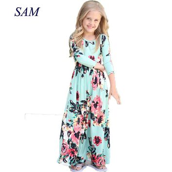 2018 Girls Dresses Autumn Cute Baby Girls Hit Color Long Dress Children clothes Casual Cotton Beachwear Maxi Dress fit 2-10T