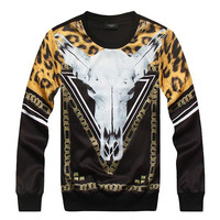 FG1509 [Mikeal] hot style Leopard cow skull chains 3d hoodies for men o neck thin sweatshirt Fashion designed