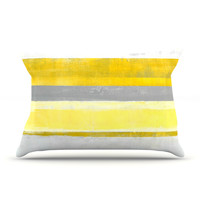 "CarolLynn Tice ""Lemon"" Yellow Gray Pillow Case - Outlet Item"