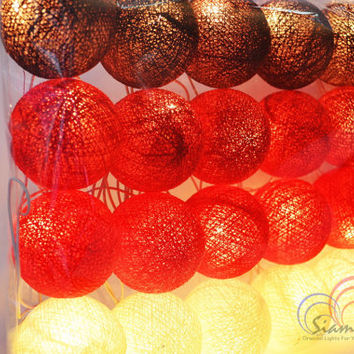Red Ruby Tone Light Bedroom Decorate Garland Christmas Light Cotton Balls Hanging Fairy Lights Patio Holiday (20 Lights/Set)
