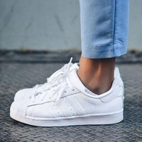 """""""Adidas"""" Shell-toe Sneakers Sport Shoes Pure Color Flats Roses"""