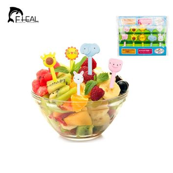 FHEAL 10pcs/set  Mini Animal Fruit Fork Plastic Fruit Dessert Toothpick Party Pick For Kitchen Bar Decor Forks Cute Tableware