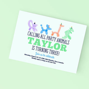 Printable Birthday Party Invitation - Adorable Balloon Animal Party invite