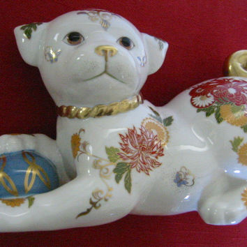 Franklin Mint Imperial Satsuma Japan Porcelain Puppy