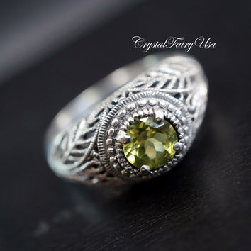 Peridot Ring - Genuine Green Peridot Ring -  Fine Gemstone Ring - Size 9 Sterling Silver Ring -  Engagement Ring - Green Stone Ring