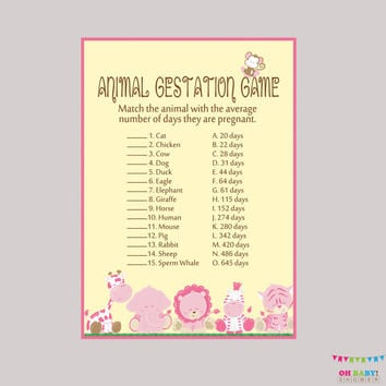 Girl Safari Baby Shower Animal Gestation Game - Printable Animal Pregnancy Game - Safari Baby Animals Match Game Safari Shower Game BS0001-P
