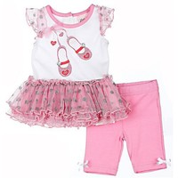 Little Lass Girls 3-9 Months Pink 2 Piece Ballet Tutu Legings Set