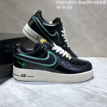 HCXX N621 Nike Air Force 1 07 Mid LV8 Jdi Lntc Leather Casual Skate Shoes Black Green Yellow