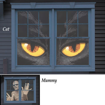 Spooky Halloween Window Posters-Cat