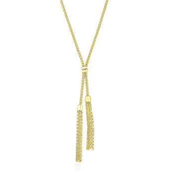 14K Yellow Gold Popcorn Chain Necklace with Lariat Design