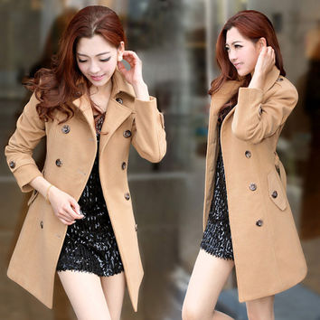 Light brown, double breasted women winter jacket coat with waist belt