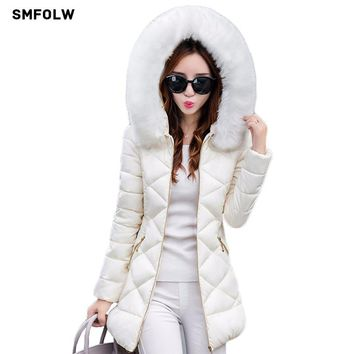 SMFOLW Winter Jacket Women 2017 Winter Coat Women fur collar hooded warm winter coat & Parkas S-XXL