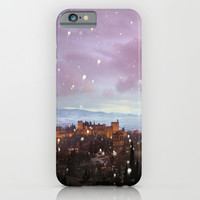 Snowing in the Alhambra, Granada, Spain at sunset iPhone & iPod Case by Guido Montañés