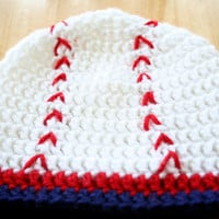 Baseball Hat, crochet, baby boy photo prop, red white and blue, Newborn to 12 Months