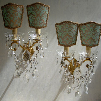 Pair of Vintage Italian Gilt Bronze 2 Arm Wall Sconces with Fortuny Clip On Lamp Shades - Handmade in Italy