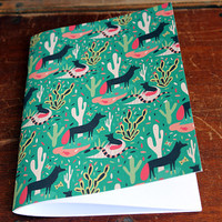 Handmade Blank Coyotes and Cactus Notebook / Cahier Coyotes et Cactus