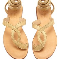 Snake Wrap Sandals - Taupe Brown