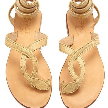 Snake Wrap Sandals - Taupe