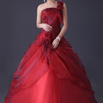 Red Off-Shoulder Beaded Ruched Ball Gown